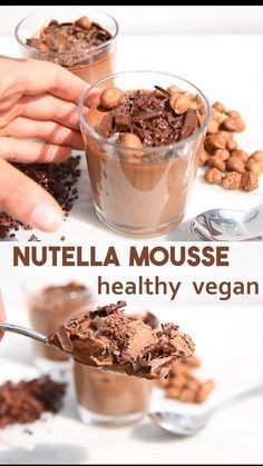 healthy recipes How to make an easy healthy chocolate mousse without avocados and instead with coconut milk, cocoa and hazelnuts to give a Nutella flavour. This recipe is vegan, gluten-free, paleo, keto and sweetened with fruit. Healthy Chocolate Mousse, Nutella Mousse, Chocolate Hazelnut, Coconut Milk Mousse, Nutella Vegan, Chocolate Cream, Chocolate Avocado Pudding, Recipes With Coconut Milk, Hazelnut Recipes