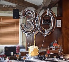 30th surprise party for him! // beer mug cake // vintage briefcases for display table // cake table display with candy jars for adult birthday party.