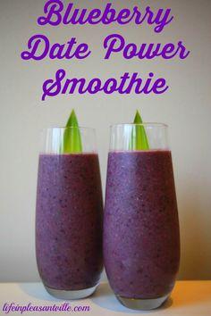 Blueberry Date Smoothie - Power Breakfast - Pregnancy Superfood ->>> blueberry date smoothie - Raspberry Smoothie, Apple Smoothies, Healthy Breakfast Smoothies, Healthy Drinks, Blueberry Breakfast, Health Breakfast, Healthy Fruits, Protein Smoothies, Coffee Breakfast Smoothie