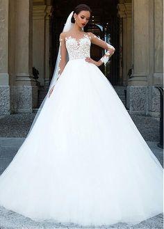 comprar Increíble de tul y satén Bateau escote A-Line vestidos de novia con apliques moldeados de encaje de descuento en Dressilyme.com