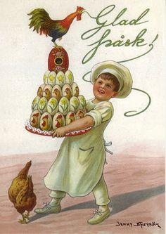 Happy Easter by Jenny Nystrom Vintage Halloween Cards, Vintage Cards, Vintage Images, Easter Art, Easter Bunny, Easter Illustration, Scandinavian Folk Art, Easter Parade, Vintage Artwork