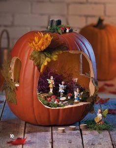 Best 12 Top 30 Ingenious Pumpkin Carving Ideas ~ Home Design Ideas Halloween Fairy, Halloween Crafts For Kids, Diy Halloween Decorations, Halloween Pumpkins, Fall Crafts, Fall Halloween, Halloween Diorama, Pumpkin Decorations, Kids Crafts