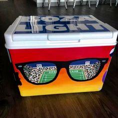COOLERSbyU Painted Cooler Examples | Artistic Sunglass Reflection | Tags: eye glasses, football stadium, painted-cooler Fraternity Coolers, Frat Coolers, Beach Cooler, Beach Fun, Formal Cooler Ideas, Painted Coolers, Cooler Painting, Delta Zeta, Football Stadiums