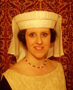 """A 'Toque' Headdress which has been reproduced from a carving of Marguerite of France known as """"The Pearl of France."""""""