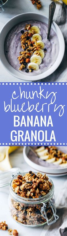 Chunky Blueberry Banana Granola- a naturally sweetened granola bursting with flavor from mashed banana, dried blueberries and almond butter. So chunky you would never guess it's made without oil! Best Vegetarian Recipes, Healthy Breakfast Recipes, Clean Eating Recipes, Healthy Snacks, Healthy Deserts, Healthy Recipes, Vegan Breakfast, Healthy Baking, Vegan Desserts