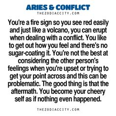 Zodiac Files: Aries & Conflict. Probably why I do what I can to avoid conflict..