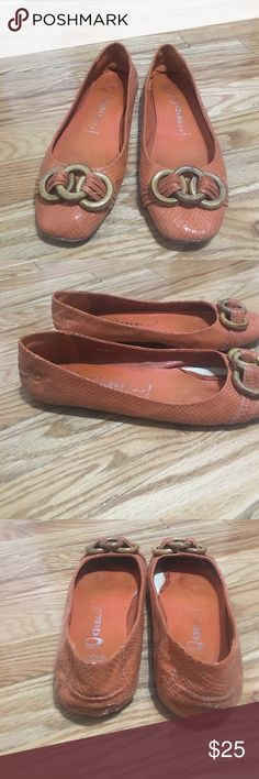 Jeffrey Campbell flipped flats Orange snake skin Jeffrey Campbell flipped flats size 7.5. Vary comfortable and great color for spring /fall. Cut wooden embellishment on toe. Jeffrey Campbell Shoes Flats & Loafers