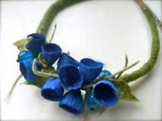 Halskette mit Seide romantische handgemachte Blumen von jurooma