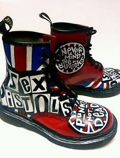 Dr. Martens Punk Rock *Sex Pistols* Grafitti Boots Red Leather Size 7 in Clothing, Shoes & Accessories, Women's Shoes, Boots | eBay