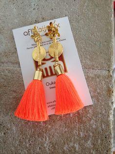 Hot Orange www.aflebijoux.com  #Tassel #jewelry