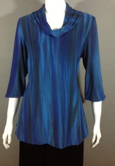 Environmentally friendly Bamboo Jersey is Shibori hand-dyed. Each garment is sewn one at a time and is unique. Color Blending, Shibori, Cowl Neck, Bamboo, Tunic Tops, Silk, Unique, Clothing, Fabric