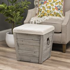 The combination of wood and fabric on this Gray Shiplap and Linen Tapered Storage Ottoman gives it rustic, farmhouse appeal. You'll love finding the perfect spot for it in your home. Farmhouse Living Room Furniture, Modern Farmhouse Decor, Shabby Chic Furniture, Rustic Furniture, Living Room Decor, Antique Furniture, Outdoor Furniture, Rustic Farmhouse, Farmhouse Style