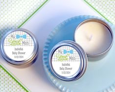 Personalized travel candles are a fun mustache party favor for My Little Man mustache themed birthday party or baby shower. Thank guests with these candle tin favors from Kate Aspen.