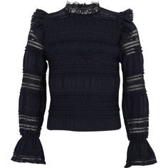 Girls navy lace fringed high neck top - Long Sleeve Tops - Tops - girls