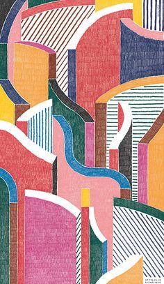 "Papier peint ""A walk in the city""  via Goodmoods"