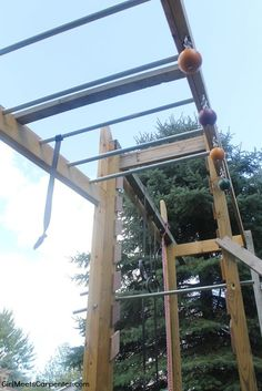 DIY Backyard Fun For The Entire Family, Rope Climb On Ninja Obstacle Course, By Girl Meets Carpenter Featured On Backyard Fort, Backyard Obstacle Course, Backyard Playground, Backyard For Kids, Backyard Ideas, Playground Ideas, Backyard Landscaping, Kids Ninja Warrior, America Ninja Warrior