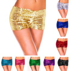 9 Candy-Colored Women Short Pants Ladies Summer Sequins Shiny Shorts Package Hip Panty Sexy Pole Dance Costume Nightclub Wear