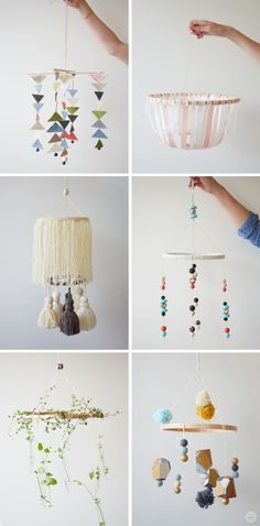 DIY: Embroidery Hoop Baby Mobile - Think. - How cute are these DIY baby mobiles? If you're planning or decorating a modern nursery for a baby - Baby Room Diy, Baby Room Decor, Nursery Decor, Nursery Ideas, Room Ideas, Nursery Toys, Project Nursery, Nursery Inspiration, Baby Nursery Diy