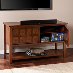 Upton Home Primrose Brown Mahogany Apothecary Console and TV Stand - Overstock.com :: $291.59