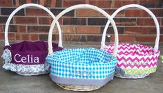 Personalized Easter Basket 8in. WHITE or 8in. by RuthiesRedApple, $30.00