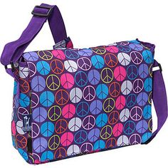 Awesome Backpack for Back To School--Wildkin Peace Signs Purple Kickstart Messenger Bag