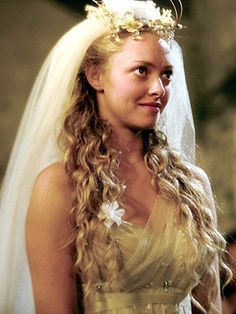 Amanda Seyfried in her Mama Mia wedding gown. Fantasy island dreaming