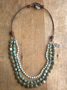 This listing is RESERVED for ELIZABETH. Layers of african turquoise, czech glass and glowing pyrite with artisan bronze accents combine for this Diy Necklace, Leather Necklace, Leather Jewelry, Necklace Designs, Fashion Necklace, Pearl Necklaces, Layered Necklace, Fall Jewelry, Cute Jewelry