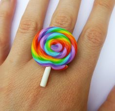 Big Rainbow Lollipop Kawaii Ring by KooKeeJewellery on Etsy, $8.99