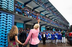 Dr. Jill Biden and her granddaughter Finnegan Biden wave goodbye to the students after a girls education event at the St. Joseph's Secondary School in Freetown, Sierra Leone: http://go.wh.gov/XL7ehb