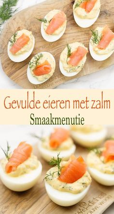 Stuffed eggs with salmon # recipe # stuffed eggs # salmon # drink snack # devilledeggs Appetizer Recipes, Snack Recipes, Cooking Recipes, Keto Recipes, Veggie Snacks, Keto Snacks, Healthy Snacks, Brunch, Good Food
