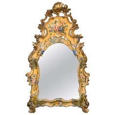 18th Century Italian Venetian Lacquered Mirror | From a unique collection of antique and modern wall mirrors at https://www.1stdibs.com/furniture/mirrors/wall-mirrors/