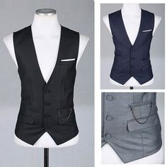 freeshipping mens casual V neck suit vest M, L, XL black, grey, red, dark blue-in Vests & Waistcoats from Apparel & Accessories on Aliexpress.com