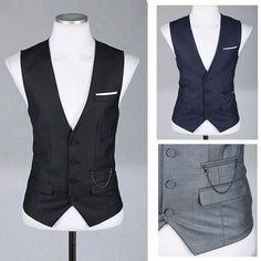@Pinterest for Business casual slim waistcoat new 2013 V-neck vest men winter vest men's vest black wine red navy gray vest men waistcoat US $22.99