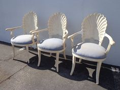 3 Italian Carved Wood Chairs Seashell Shell Clam Back Dining Chair Miami Beach Regency Seating Vintage Set Tropical Glam Hollywood Chic