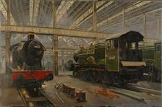 Original oil on canvas by David Shepherd entitled In the Sheds, Swindon. Signed and dated Train paintings for sale at M. Kenya Travel, His Travel, Old Steam Train, Nursery World, Steam Railway, Painting Competition, Train Art, Railway Posters, Old Trains