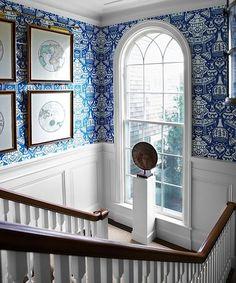 Tom Scheerer - entrances/foyers - The Vase Wallpaper, david hicks wallpaper, hicks the vase wallpaper, blue the vase wallpaper, wainscoting,...