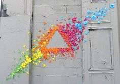 paper origami rainbows along the streets of paris - my modern metropolis