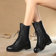 Spring and autumn leather short boots women boots ladies boots Chao crude with Martin boots women's plus fall/winter wool girls shoes low heel women boots