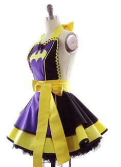 Retro Apron  Purple Batty Girl Womans Aprons  Vintage Apron