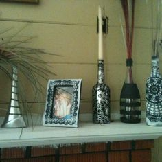 Painted wine bottles and picture frame