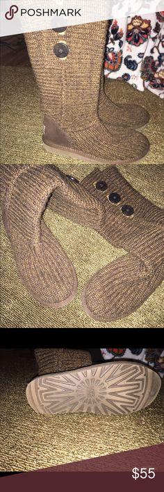 Knit Ugg Boots Gently worn knit Ugg Boots Size 7, these are a heathered brown, with golden/tan, bought Euc and didn't wear bc too big, small water stain on sole, pic provided, otherwise excellent condition :) UGG Shoes Winter & Rain Boots