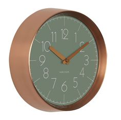 CONVEX WALL CLOCK IN GREEN AND COPPER