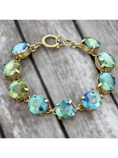 Olive Crystal Goldtone Bracelet #preppy #crystalbracelet #designerinspired