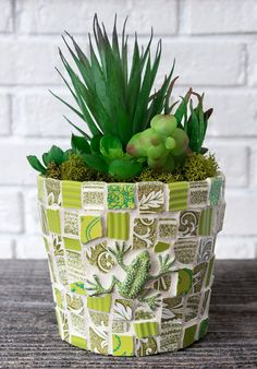 Your place to buy and sell all things handmade Mosaic Flower Pots, Mosaic Pots, Mosaic Garden, Yellow Interior, China Plates, Pansies, Vintage Floral, Succulents, Planter Pots