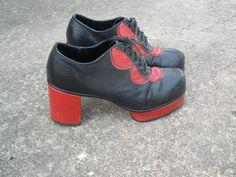 Vintage disco platform shoes 1970s laceups rare by vintageagogirl, $225.00