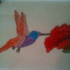 """Pastel Hummingbird"" by Matt, age 5"