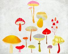 Octobre - Art - Print of an original illustration - Color Print - Drawing - Colorful Mushrooms -