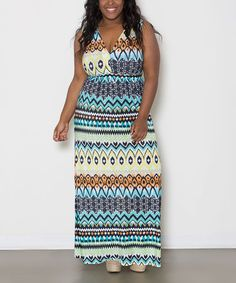 Look what I found on #zulily! Blue & White Alina Maxi Dress - Plus by Sealed With a Kiss Designs #zulilyfinds