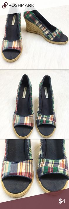 74cf1a197 FLAWED Tommy Hilfiger Plaid Espadrilles Wedges 8.5 Brand  Tommy Hilfiger  Style Name Number