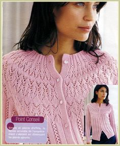 Ravelry: 343 - Cardigan Ajoure pattern by Bergère de France. Pattern written in French but has a chart and it is not too hard to work out the instructions. Made all the pieces up to the yoke then knitted the yoke together to avoid sewing in the sleeves. Crochet Cardigan Pattern, Crochet Jacket, Sweater Knitting Patterns, Knit Jacket, Lace Knitting, Knit Patterns, Knit Crochet, Crochet Woman, Free Knitting Patterns For Women